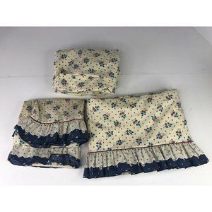 Vintage Lady Pepperell Sheet Set Floral Full Double Cottage Core Poly Cotton